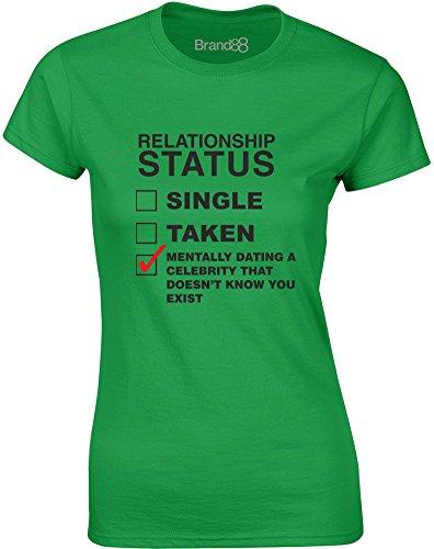 Brand88 - Mentally Dating A Celebrity..., Mesdames T-shirt imprimé Vert/Noir
