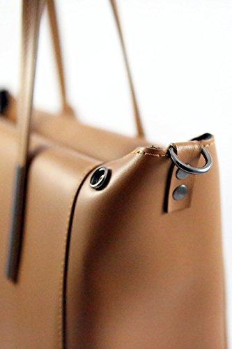 Borsa a spalla in pelle da Donna - Amica Moda BPL1092 Fango