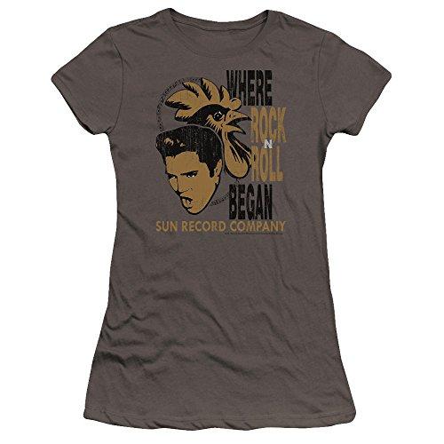 SUN - - Elvis and Rooster Premium Bella T-Shirt für Junge Frauen, Medium, Charcoal