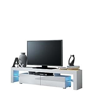 Mirjan24 TV Schrank Solo, Unterschrank mit LED, Fernsehschrank, TV Lowboard  mit Grifflose Öffnen, Hochglanz Matt Wohnwand (ohne Beleuchtung, Weiß ...