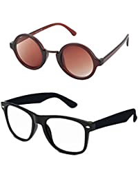 7831a615a7 Aventus Stylish Sunglasses Combo Clear Wayfarer Sunglasses   Round  Sunglasses for Men Women