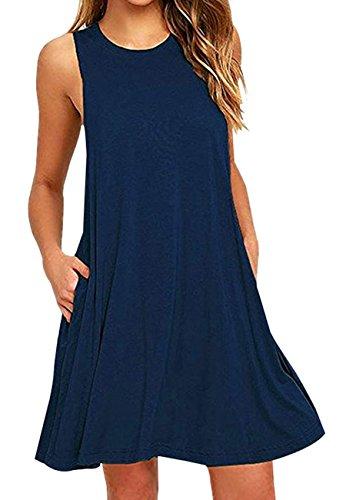 OMZIN Ärmellos Taschen Casual Swing Einfarbig T Shirt Kleid für Damen Navy Blau S -