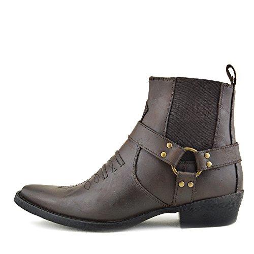 Herren Cowboy Ankle Boots Aus Leder Biker-Boots Aus Leder Toe - UK 7 / EU 41, Brown - 2