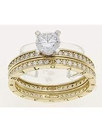 4eb783865562 bulgari 14k Gold Oro Amarillo Yellow Gold Band Engagement Ring Zirconia  cúbico