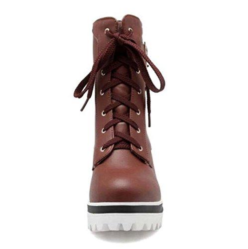 Scarpe Da Donna Primavera Ed Autunno Il Nuovo Svago PU scarpe Corti Scarponi Da Neve Stivali Da Donna LightBrown