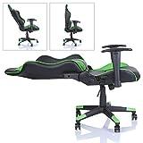 Racing Drehstuhl Bürostuhl Sportsitz Chefsessel Gaming Stuhl 6 Farbvarianten, Wippmechanik, stufenlos verstellbare Rückenlehne (Hellgrün) - 4