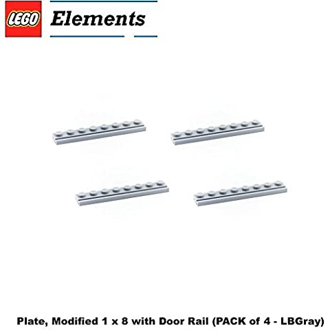 Lego Parts: Plate, Modified 1 x 8 with Door Rail (PACK of 4 - LBGray) by Parts - Plates, Modified