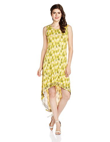 Global Desi Women's Shift Dress (50643-DR-53VL_Yellow_Medium)
