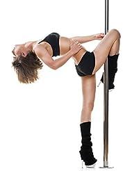 Klarfit Luxor barra de baile (giratoria o fija, desmontable, con juego de herramientas, altura ajustable hasta 2,74 m, acero inoxidable, resiste hasta 120 kg) - plateado