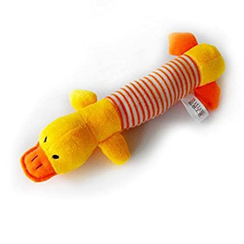 Dog Pet Puppy Plush Sound Chew Squeaker Squeaky Pig Elephant Duck Toys (Yellow Duck) by