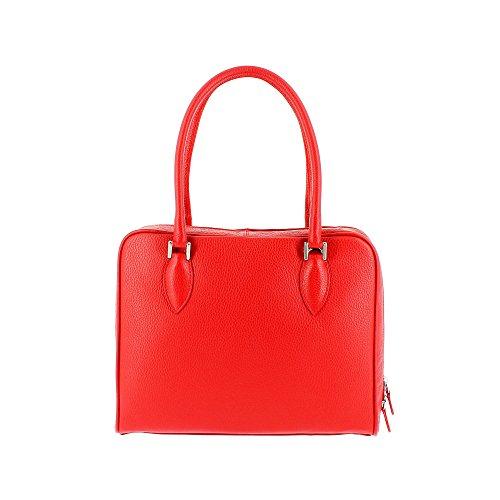 Sac porté épaule made in Italy doubles poignées et bandoulière DUDU Rouge
