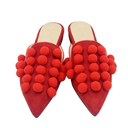 ELASHE- Mocassini Donna - Zoccoli Donna Pointed Toe Sandali Basse - Donna Pantofole Estate Rosso