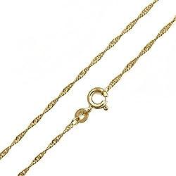 Singapurkette 585/14 Karat Gelbgold Breite 1,00mm Goldkette Halskette Collier NEU (45 Zentimeter)