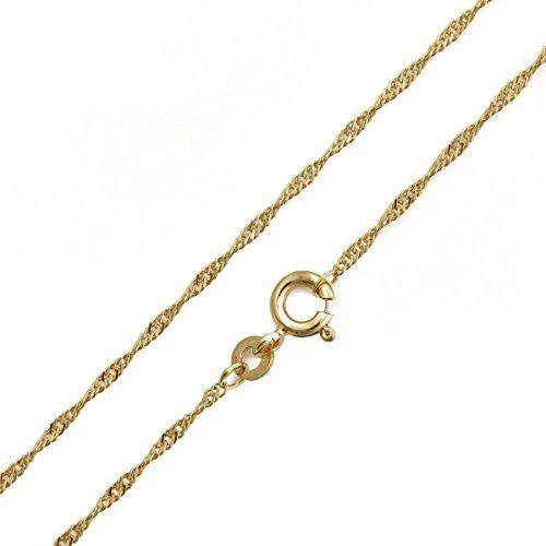 Damen Halskette 8 Karat 333 Gold Gelbgold Singapurkette Breite 1,00mm Länge 42cm 45cm 50cm 60cm Goldkette (45 Zentimeter)