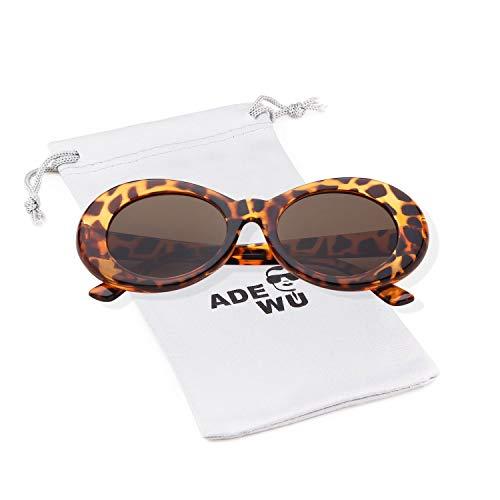 ADEWU Ovale Sonnenbrille UV400 Schutz Vintage Clout Goggles für Damen Herren (Leopard)