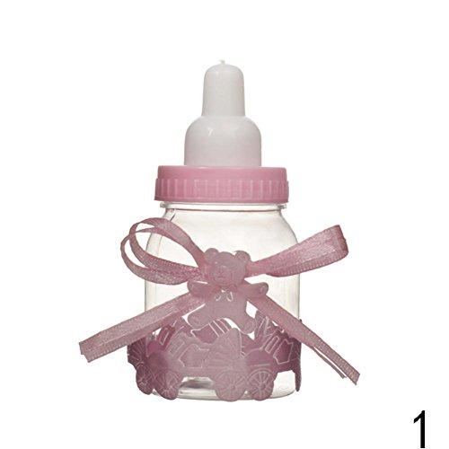 (Blue Vessel 12 pcs Baby Flasche Design Candy Box Süss Box Party Decoration 4*9CM Rosa)