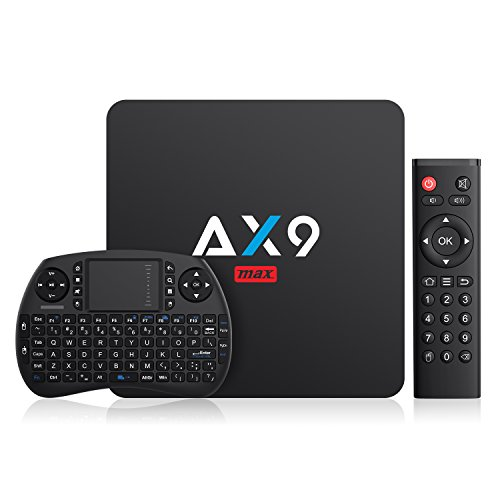 Última Android 7.1 TV Box- TICTID AX9 MAX TV Box con Mini Teclado inalámbirco con touchpad 2GB/16GB EMMC Quad-Core 64-bit Cortex-A53 2.4G WiFi/ H.265 DLNA /4K Smart TV Box
