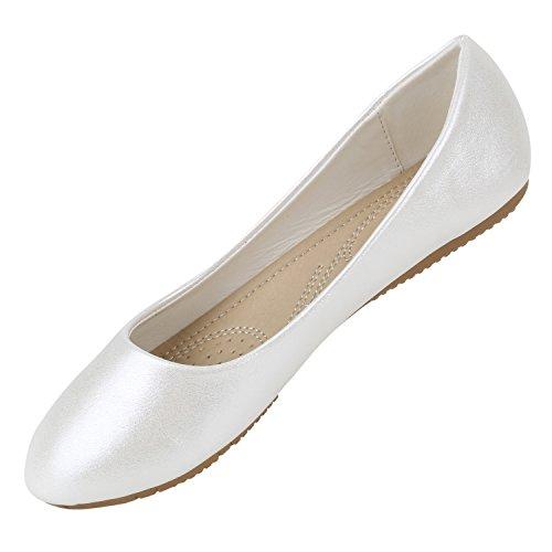 Klassische Damen Ballerinas | Flats Leder-Optik Lack | Metallic Schuhe Glitzer Schleifen | Ballerina Schuhe Übergrößen Weiss Metallic