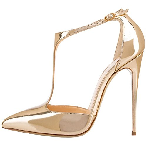EKS Damen Schnalle T Strap High Heels Stilettos Spitze Pumps Gold