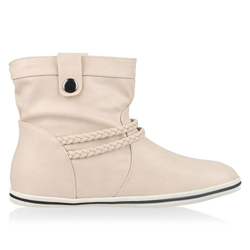 Sportliche Damen Stiefeletten Stiefel Flache Boots High & Low Top Nude Low