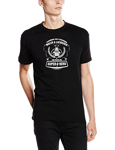 Shirtzshop–Maglietta di giorno un alacre pittore Lackierer e notte un super hero nero