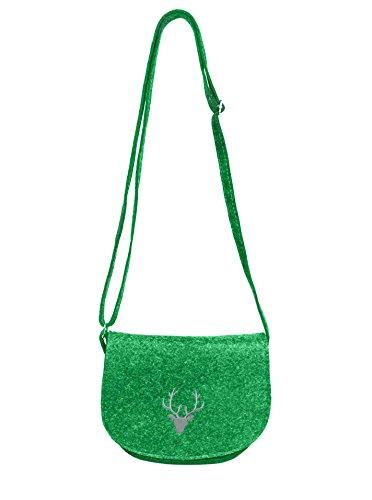 Cashmere-leder-rucksack (Zwillingsherz Filz Tasche mit Hirsch für Damen, Mädchen perfekt für das Oktoberfest / Schultertasche / Shopper - Badetasche - Umhängetasche - Henkeltasche (grün))