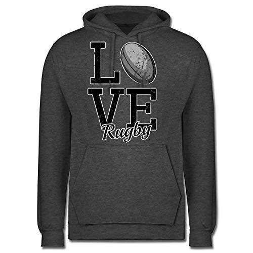 Sonstige Sportarten - Love Rugby - L - Anthrazit meliert - JH001 - Herren Hoodie -