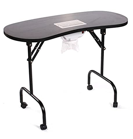 Urbanity Portable Mobile Manicure Nail Salon Table Station With Extractor Fan Dust Collector Black
