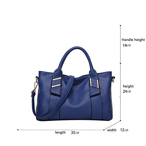 Sunas Portafogli trasversali del sacchetto del messaggero della spalla di cuoio molle casuale della borsa delle donne di modo zaffiro