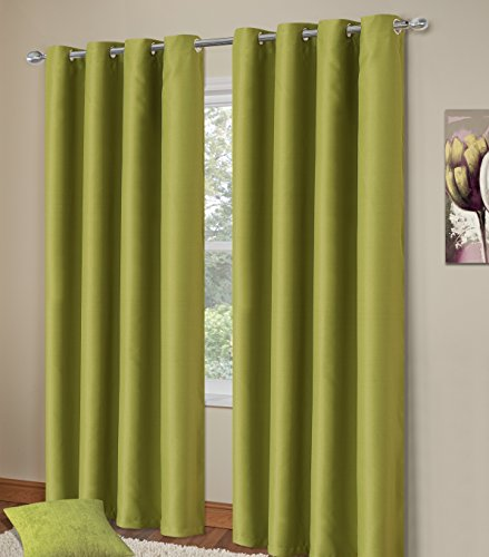 Home Bedding Store Thermal Blackout Ringtop Eyelet Curtains 64 x 90 Curtain Pair Green Manhattan Super Soft
