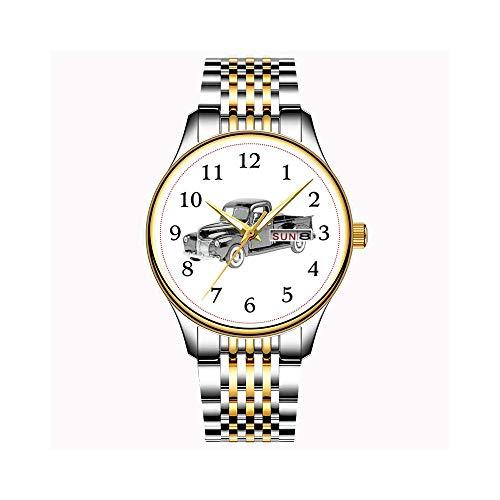 Uhren Herrenmode Japanische Quarz Datum Edelstahl Armband Gold Uhr Ford 2 Tür Limousine Armbanduhren (36 Dusche Tür)
