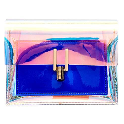 Dorical Damen - Messenger Damen 17x6x14cm Laser Kette Crossbody Taschen Handtasche Umhängetasche Schultertasche Tragetasche Taschen Handtaschen/Schultertasche Henkeltasche für Frauen(Blau)