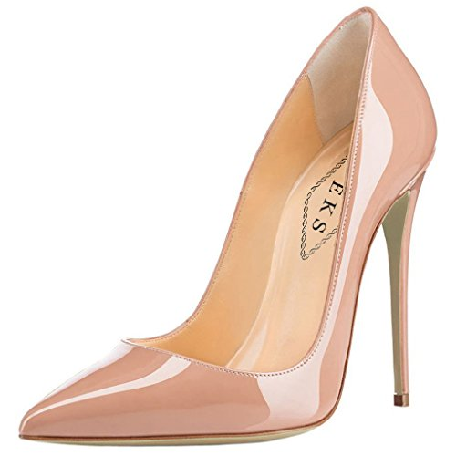 EKS Women's Pumps High Heels Sexy Pointy Toe Dress Party Court Shoes Nude EU 38