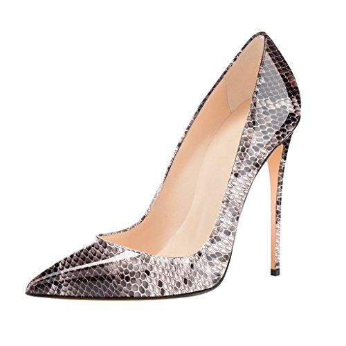 Hoch Schuhe Heels Spitze Python Pumps Absatz High Elegant Zehe Edefs Damen FBq544