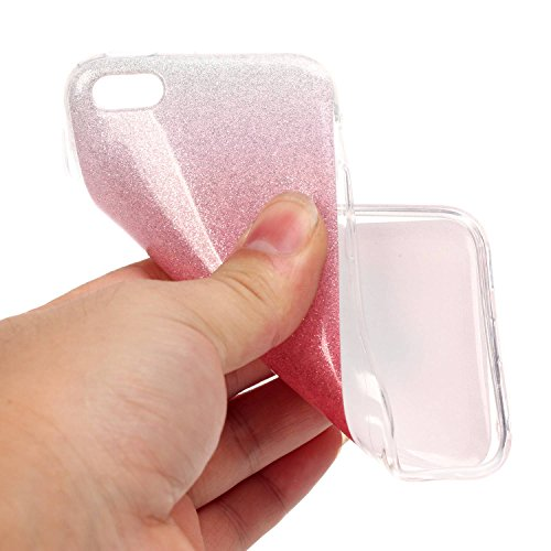iPhone 5C Hülle Weiches Silikon Glitzer Schutzhülle Tasche Case,iPhone 5C Hochwertig Leicht Gummi Schutz Hoch Handyhüllen Schale Etui,Herzzer Modisch Luxus Silikon Bunt Hülle [Farbverlauf Gradient Far Rosa