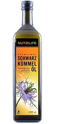 Nutrilife Schwarzkümmelöl, 1000ml, gefiltert, kaltgepresst, ägyptisch, 100% naturrein, Frischegarantie: täglich mühlenfrisch direkt vom Hersteller Kräuterland