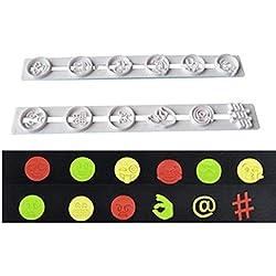 Queta - Juego de 2 moldes para Galletas con diseño de Emoticono