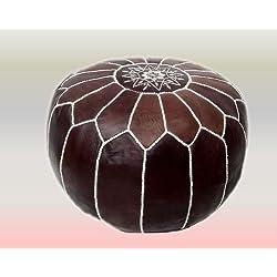 Puf de cuero marroquí color canela oscuro con bordados en blanco (lleno) 55x55x30 cm