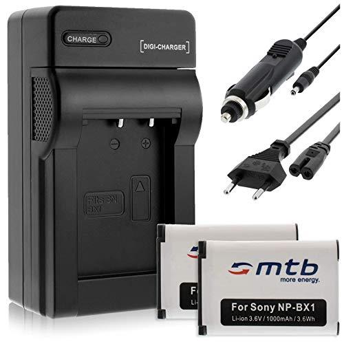 2 Batteries NP-BX1 + Chargeur pour Sony Cyber-Shot HX400, HX400V, RX1, RX1R, RX100, WX300, WX350, WX500.