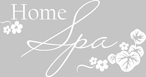 Graz Design 650149_30_010 Wandtattoo Deko für Bad Sprüche Wand Aufkleber Sticker Home Spa mit Blüten für Wellness Bereich 57x30cm Weiss