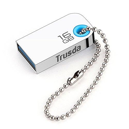 TRUSDA Chiavette USB 3.0 16GB Pendrvie USB Ultra-Piccolo Alta Velocità Metallo con Portachiavi U85