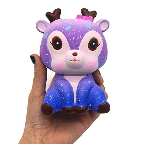 VENMO 11cm Galaxy Deer Creme duftenden Squishy langsam steigenden Squeeze Strap Kinder Spielzeug Geschenk Relief Toy Slow Rising Squeeze Reduzieren Stress Spielzeug Squishy Fun Witz Geschenk Toys (Galaxy Color)