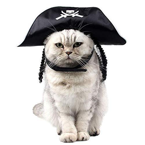 WINNER POP Pet Pirate Halloween Hat, Klettverschluss-Design ist Nicht leicht zu rutschen, geeignet für Hund und Katze Rollenspiel Party Festival Fotos