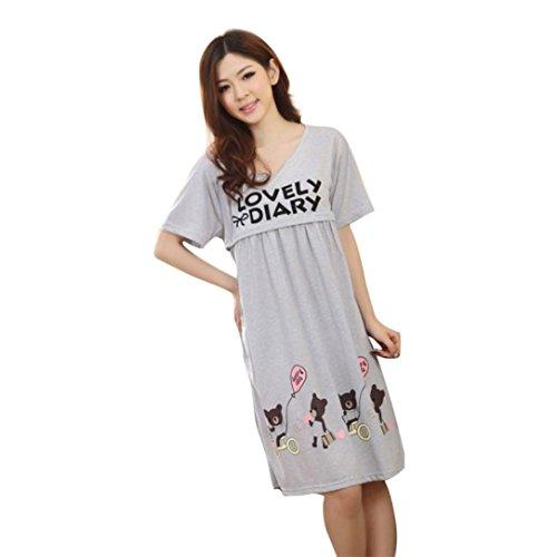 Ba Zha HEI Schwangere Frauen Large Cute Bear Stillzeit Pflege Kleidung Mutterschaft Kleid Hot Casual Langes Shirt Lose Tunika Kurzarm Party Strand Kleid Lässig T-Shirt Kleid (Freie Größe, Grau)