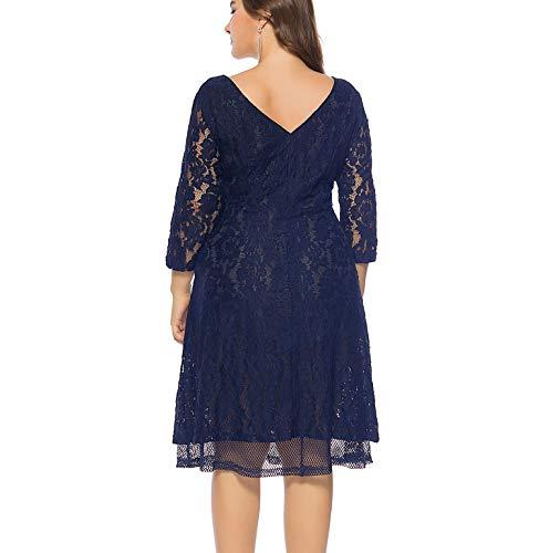 KILOLONE Damen Übergröße Abendkleid Spitze Chiffon mit 3/5 Ärmel Elegant Ballkleid