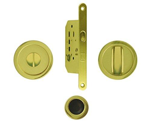 Kit Bonaiti serratura con nottolino Foro mm 50 Quadro mm 8 conchiglia circolare Diametro mm 48 (OTTONATO)