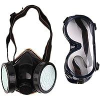 Nuevo Filtro de Protección Doble Máscara de Gas Químico Gas Anti Polvo Pintura Respirador Mascarilla con Gafas de Seguridad Industrial al Por Mayor