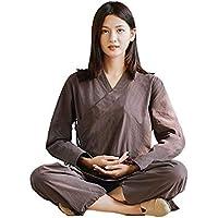 SCDXJ Traje De Tai Chi para Mujer Ropa De Kung Fu Chino Algodón Wing Chun Uniforme Traje De Yoga Artes Marciales,Brown-XXL
