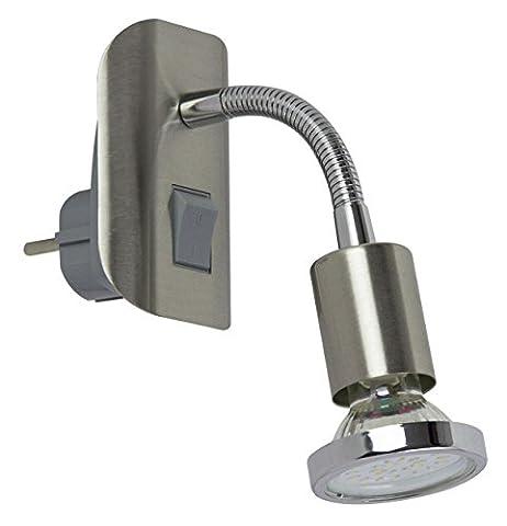 Trango Prise lecture LED Lampe Veilleuse avec interrupteur 1x 3W LED GU10lm Moderne Acier inoxydable