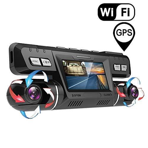 Dashcam,2160P UHD GPS WiFi Vorne und Hinten Dual Kamera 170 Grad Weitwinkel Dashcam Auto mit 32 GB Micro SD Karte,WDR Sony Nachtsicht Lens,Bewegungserkennung,Audio,G-Sensor für Auto Parküberwachung
